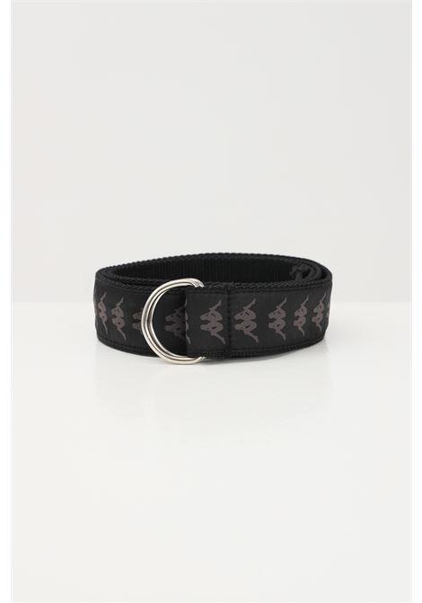 Black unisex belt with allover logo print kappa KAPPA | Belt | 30329X0005