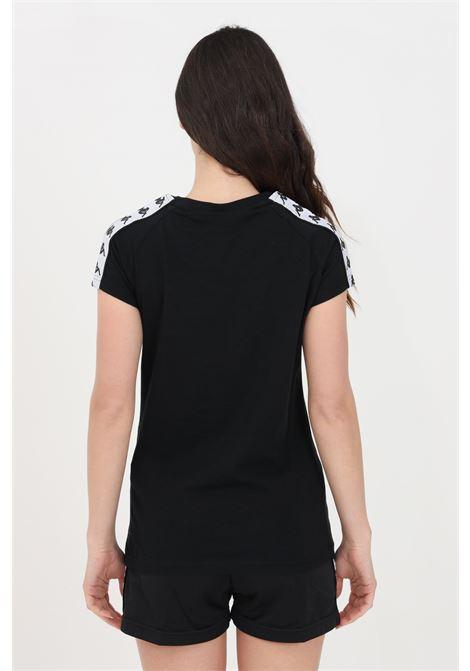 T-shirt donna nero kappa a manica corta con bande laterali KAPPA | T-shirt | 303WGP0A21