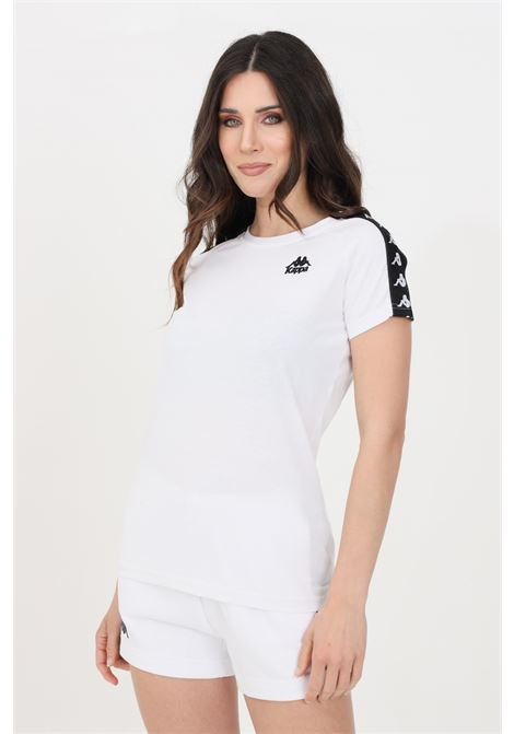 T-shirt donna bianco kappa a manica corta con bande laterali KAPPA | T-shirt | 303WGP0A58