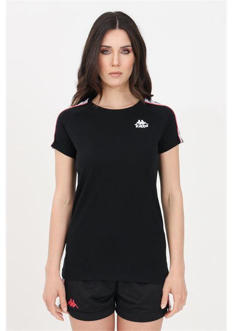 T-shirt donna nero kappa a manica corta con bande laterali KAPPA | T-shirt | 303WGP0BX0
