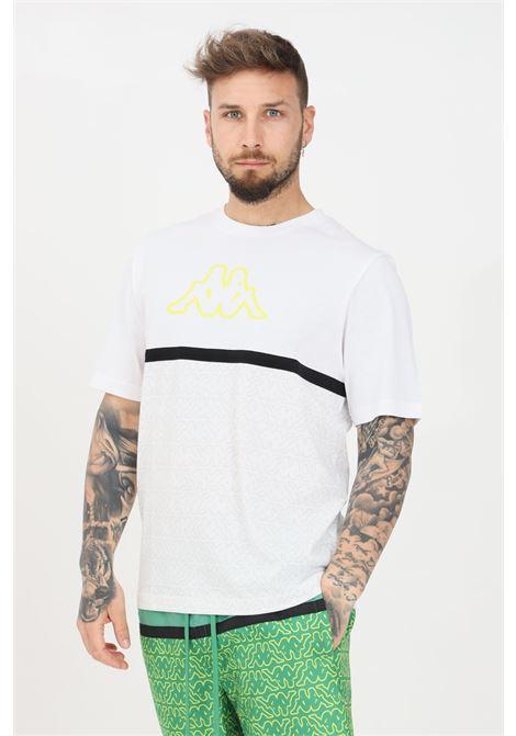 T-shirt uomo bianco kappa a manica corta con stampa pattern KAPPA | T-shirt | 31165HWA00