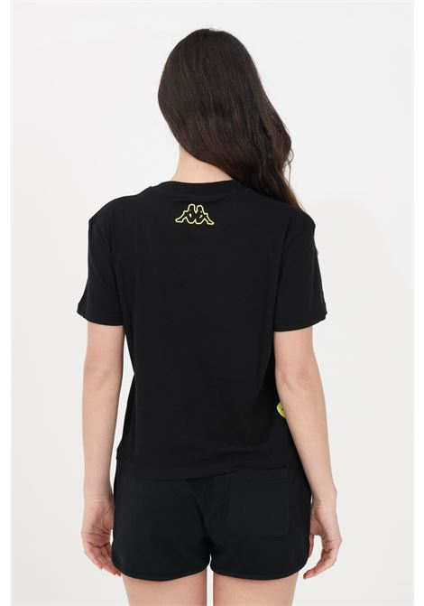 Black women's t-shirt short sleeve maxi two tone print kappa  KAPPA | T-shirt | 3116IIW005