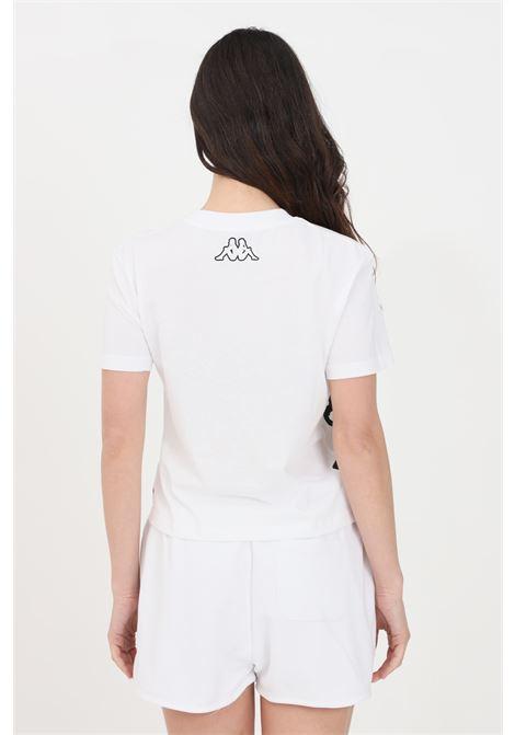 White women's t-shirt short sleeve maxi two tone print kappa  KAPPA | T-shirt | 3116IIWA08
