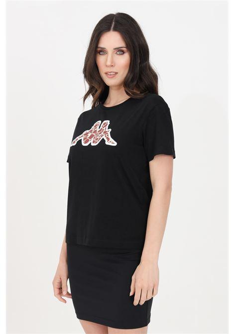 T-shirt donna nero kappa a manica corta con logo animalier KAPPA | T-shirt | 311BFSW005