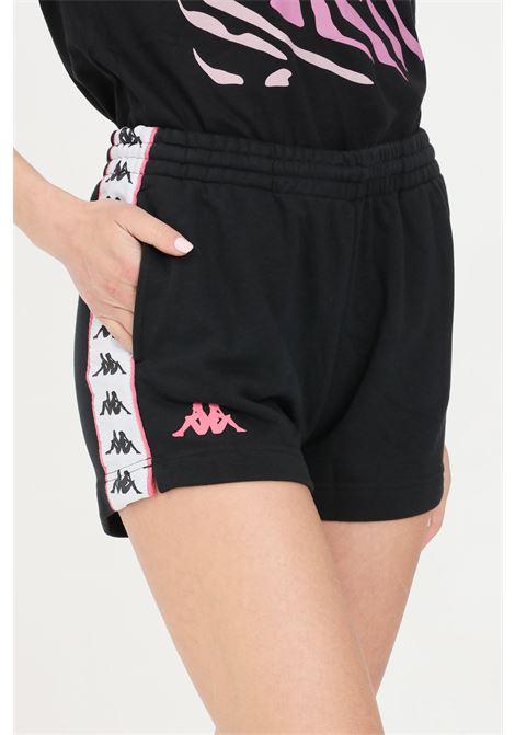 Shorts donna nero kappa sport con bande laterali KAPPA | Shorts | 32143QWBX0