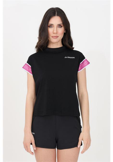 Black women's logo tape cruz t-shirt short sleeve kappa KAPPA | T-shirt | 34111KWA2V