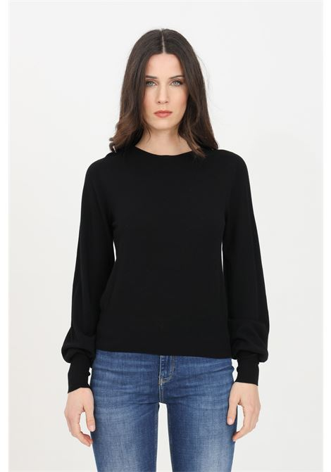 Black sweater in solid color with crew neck. Elastic cuffs and bottom. Comfortable model. Kontatto KONTATTO | Knitwear | 3M720101