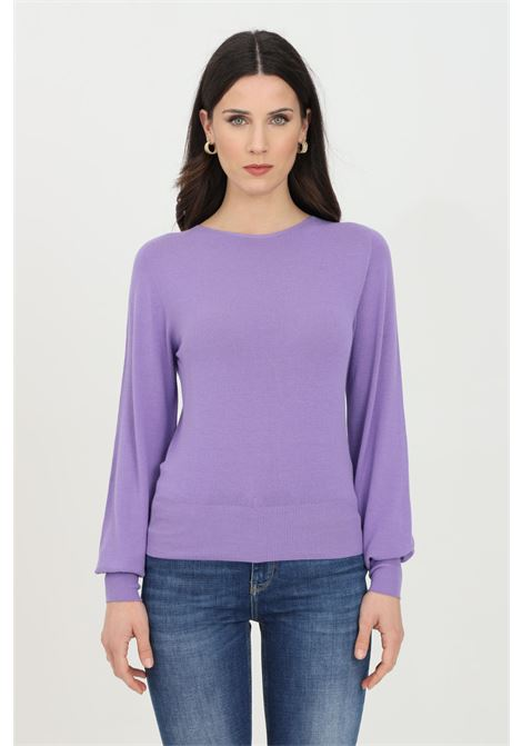 Lilac sweater in solid color with crew neck. Elastic cuffs and bottom. Comfortable model. Kontatto KONTATTO | Knitwear | 3M7201141