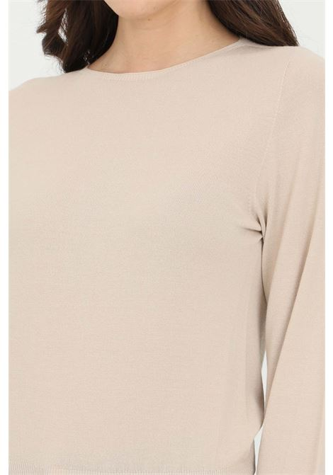 Beige sweater in solid color with crew neck. Elastic cuffs and bottom. Comfortable model. Kontatto KONTATTO | Knitwear | 3M720114