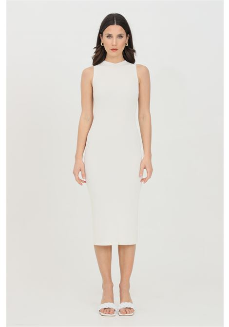 Cream dress with ribs, midi cut, sleeveless. Slim model. Kontatto KONTATTO | Dress | 3M722711