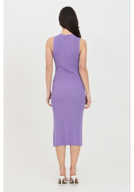 Lilac dress with ribs, midi cut, sleeveless. Slim model. Kontatto KONTATTO | Dress | 3M7227141