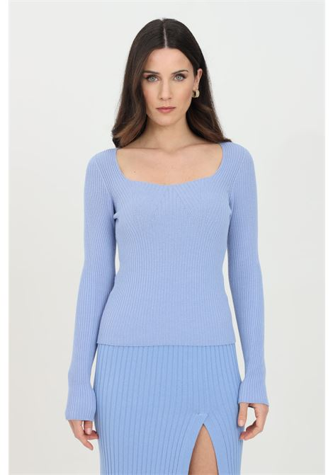 Light blue sweater with square neckline and long sleeves. Slim model. Kontatto KONTATTO | Knitwear | 3M7230223