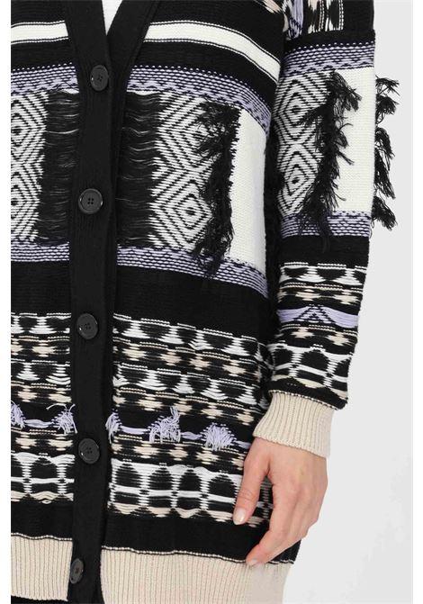 Cardigan donna nero kontatto in maglia con frange KONTATTO | Cardigan | 3M7235V06