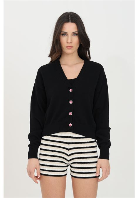 Black cardigan in ribbed fabric, front closure with jewel buttons. Comfortable model. Kontatto KONTATTO | Cardigan | 3M723601