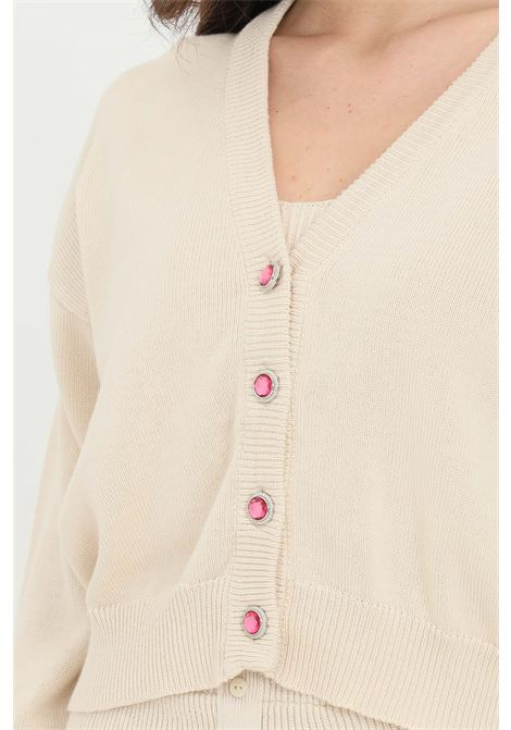 Sand cardigan in ribbed fabric, front closure with jewel buttons. Comfortable model. Kontatto KONTATTO | Cardigan | 3M723614