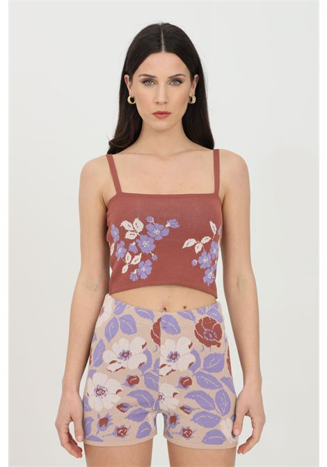 Brown top in jacquard with floral embroidery. Thin braces and short cut. Kontatto KONTATTO | Top | 3M7251V01
