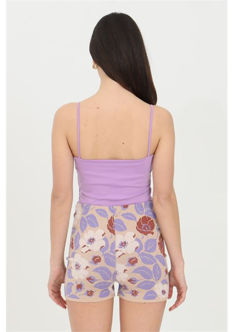 Lilac shorts in jacquard with floral embroidery. Elastic waistband and bottom with ribs. Kontatto KONTATTO | Shorts | 3M7252V04