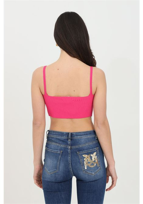 Fuchsia top with thin straps, ribbed model. Short cut. Kontatto KONTATTO | Top | 3M725585