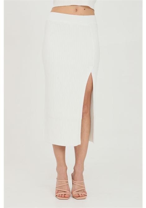 Cream skirt with deep slit and elastic waistband, ribbed fabric. Comfortable model. Kontatto KONTATTO | Skirt | 3M725611