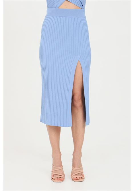 Light blue skirt with deep slit and elastic waistband, ribbed fabric. Comfortable model. Kontatto KONTATTO | Skirt | 3M7256223