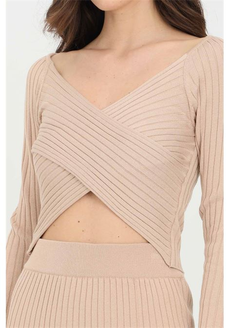 Sand sweater in ribbed fabric with intersections on the front. Kontatto KONTATTO | Top | 3M7257305