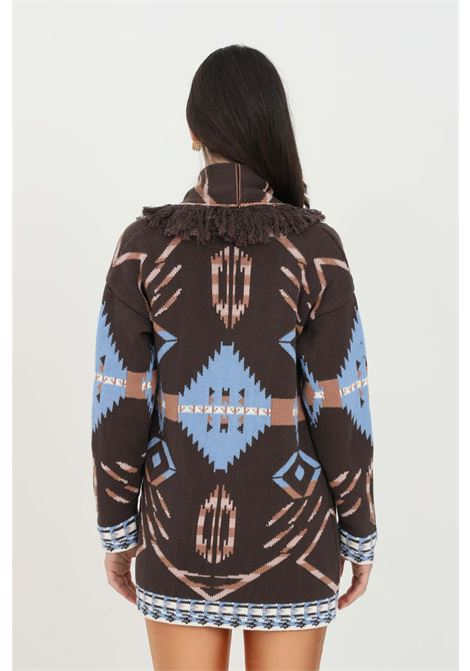 Multicolor cardigan in heavy fabric with ethnic print and fringe applications. Model without closures. Kontatto KONTATTO | Cardigan | 3M7262V10