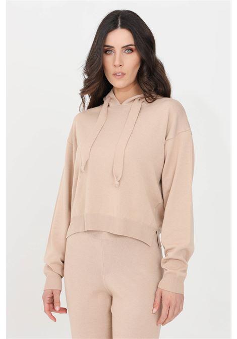 Felpa donna beige kontatto con cappuccio, modello in maglia KONTATTO   Felpe   3M7266305