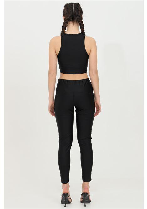 Black leggings with high waist and slits on the bottom. Slim model. Kontatto KONTATTO | Leggings | B330001