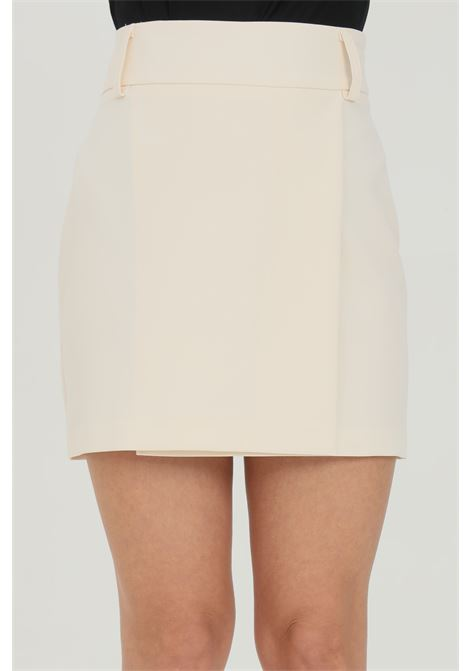 Cream skirt, high waist model with loops. Closure with zip. Kontatto KONTATTO | Skirt | CO3003350