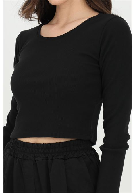 Black top, ribbed model with long sleeves. Slim fit. Kontatto KONTATTO | Top | M161801