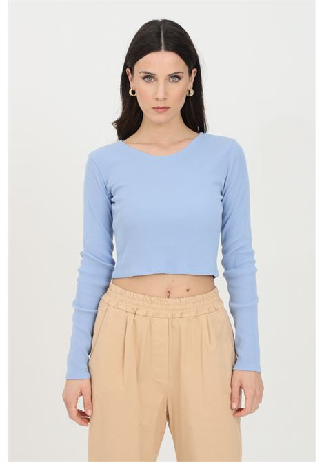 Light blue top, ribbed model with long sleeves. Slim fit. Kontatto KONTATTO | Top | M1618223
