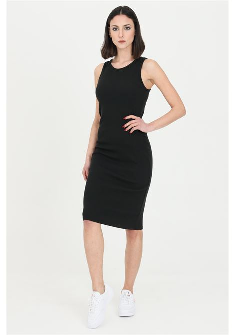 Black dress in ribbed fabric. Slim fit. Kontatto KONTATTO | Dress | M161901