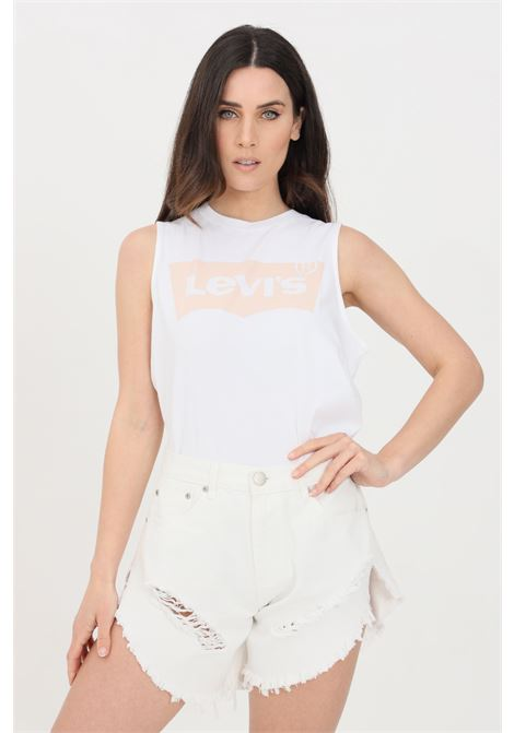 White t-shirt with logo print on the front, sleeveless. Levi's LEVI'S | T-shirt | 18184-00020002