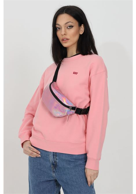 Pink sweatshirt in solid color with contrasting logo, elastic cuffs and bottom, crew neck model. Levi's LEVI'S   Sweatshirt   24688-00080008