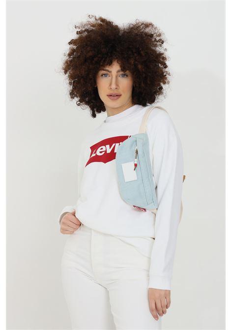 Felpa donna bianco levi's girocollo con stampa logo frontale. Girocollo, fondo e polsini a costine LEVI'S | Felpe | 29717-00140014