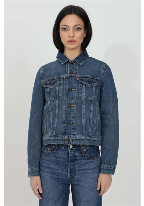 Blue denim trucker jacket with buttons, regular collar and long sleeves. Washing 0, comfortable model. Levi's LEVI'S | Jacket | 29945-00630063