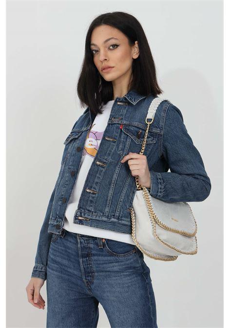 Giubbotto donna blu jeans levi's in denim trucker con bottoni. Colletto regular e maniche lunghe. Lavaggio 0, modello comodo LEVI'S | Giubbotti | 29945-00630063