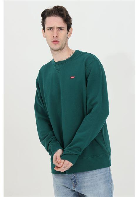 Felpa uomo verde levi's girocollo in tinta unita con logo a contrasto in dimensioni ridotte. Modello over. Girocollo a costine. Fondo e polsini elasticizzati LEVI'S | Felpe | 35909-00070007