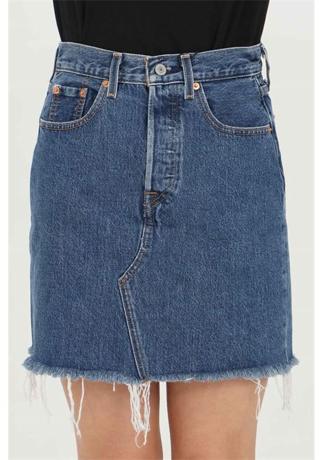 Blue skirt with frayed bottom. Slim model with belt loops and closure with buttons. Levi's  LEVI'S | Skirt | 77882-00090009