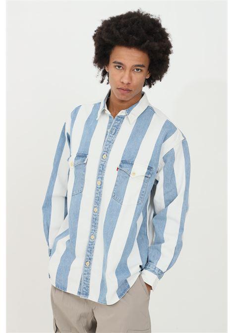 Camicia uomo bianco-azzurro levi's casual stampa righe. Colletto classico e chiusura con bottoni, manica lunga LEVI'S | Camicie | 85470-00040004