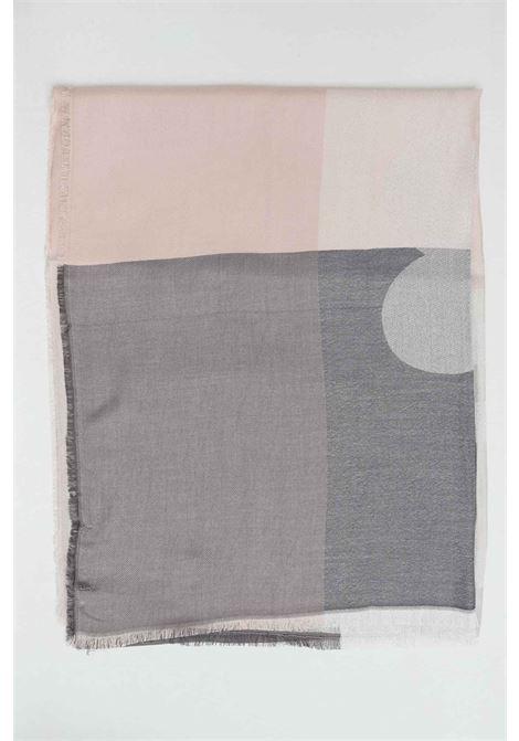 Lilac scarf with check print, unfinished hems and maxi jacquard logo. Liu jo LIU JO | Scarf | 2A1027T030022222