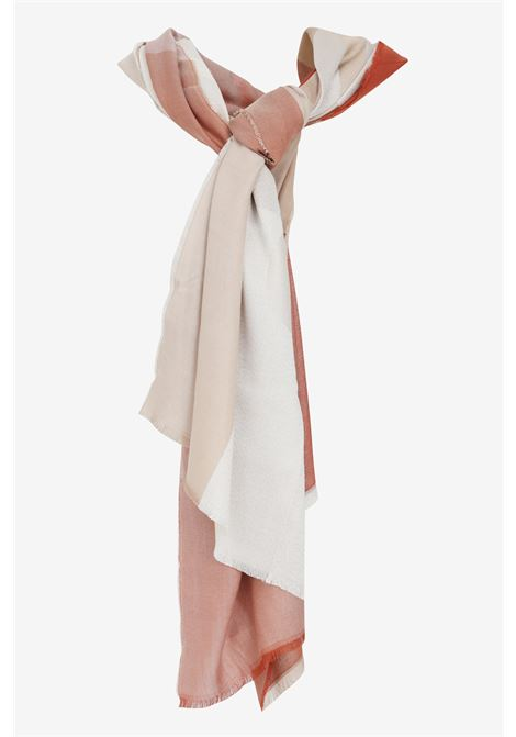 Pink scarf with check print, unfinished hems and maxi jacquard logo. Liu jo LIU JO | Scarf | 2A1027T030091250