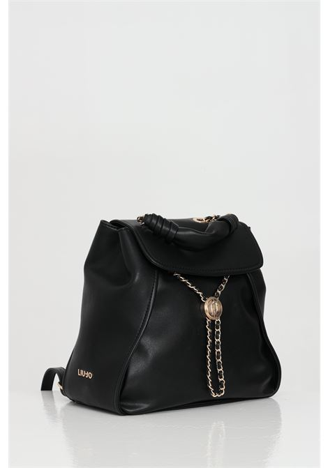 Black backpack in eco-leather, handle and adjustable shoulder straps. Gold logo on the side. Front closure with magnet. Liu jo  LIU JO | Backpack | AA1073E004022222