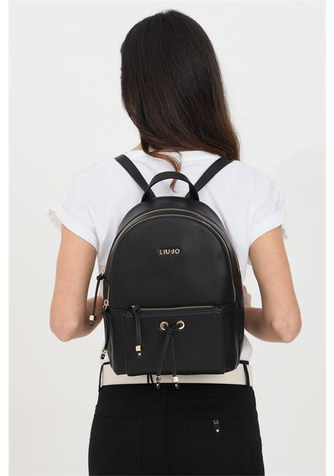 Black backpack with contrasting logo on the front and adjustable shoulder straps, textured embossed eco-leather. Front zip pocket. Liu jo LIU JO | Backpack | AA1247E002722222