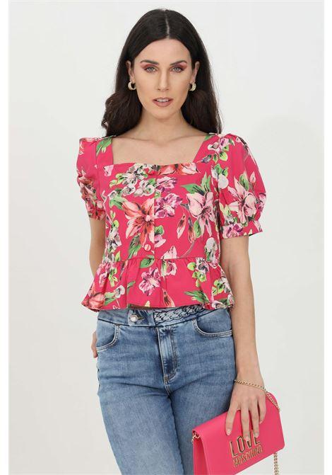 Fuchsia blouse with flower print, ruffles and flounced bottom, square neckline and button closure. Liu jo  LIU JO | Blouse | WA1293T4824T9651