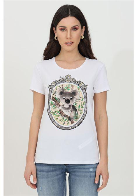 White t-shirt with short sleeves. Koala print with rhinestones and sequins. Liu jo LIU JO | T-shirt | WA1321J5003T9584