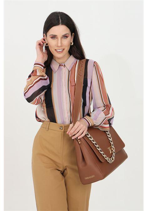 Camicia donna lilac stripes Liu jo casual. Scollo a V e chiusura frontale con bottoni. Manica lunga con sbuffo. Stampa pattern a righe LIU JO | Camicie | WA1322T5441T9687