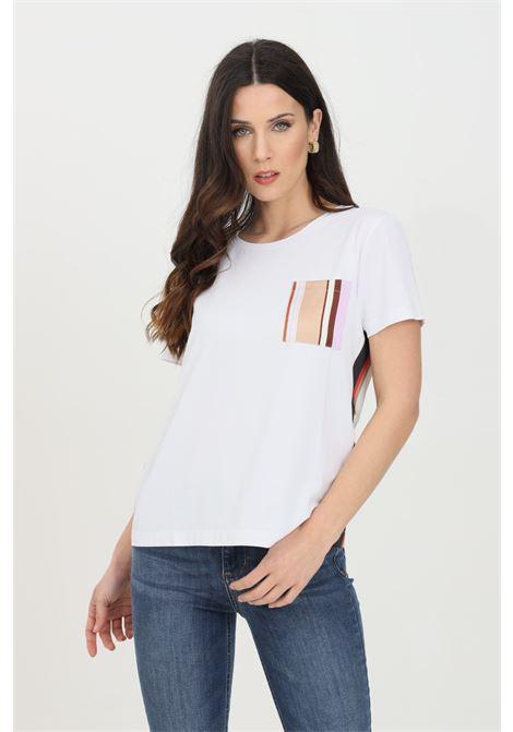 White t-shirt in double fabric with front pocket, short sleeve. Liu jo LIU JO | T-shirt | WA1482J5972T9743