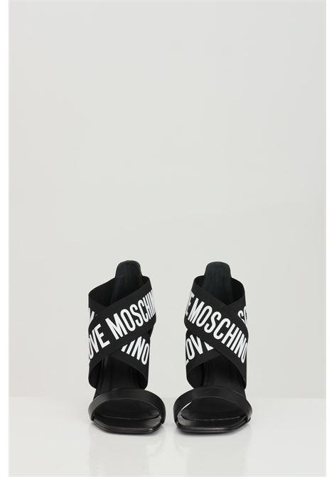 Party shoes donna neri love moschino sandali con bande elastiche e logo a contrasto LOVE MOSCHINO | Party Shoes | J16109C0C-JC0000
