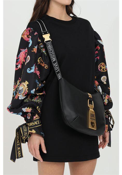 Borsa donna nero love moschino con tracolla in tessuto e chiusura con zip. Logo in acciaio frontale color oro LOVE MOSCHINO   Borse   JC4089PP1C-LN0000